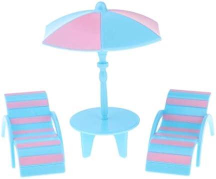MagiDeal Miniature Dollhouse Bench Sun Umbrella Garden Decoration Blue+S