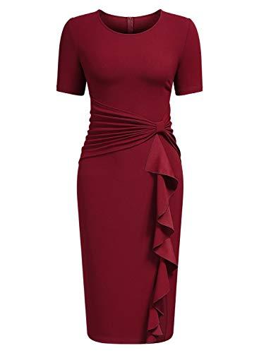 AISIZE Women's 50s Vintage Ruffle Draped Short Sleeve Bodycon Cocktail Knee Dress Dark Red