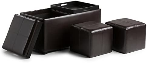 Simplihome Avalon 35 Inch Wide Rectangle 5 Pc Storage Ottoman With 2 Serving Trays In Upholstered Tanners Brown Faux Leather Footrest Stool Coffee Table For The Living Room Bedroom Contemporary Furniture