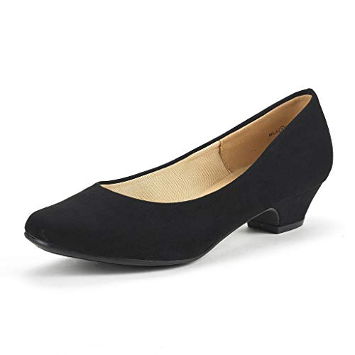 (DREAM PAIRS Women's Mila Black Suede Low Chunky Heel Pump Shoes Size 11 M US)