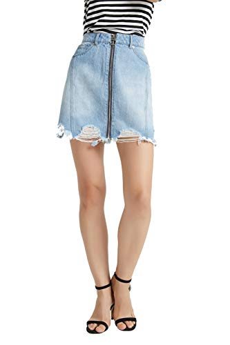 (Tronjori Women's A Line Distressed Ripped Denim Skirt Frayed Hem Front Zip(S,Blue))
