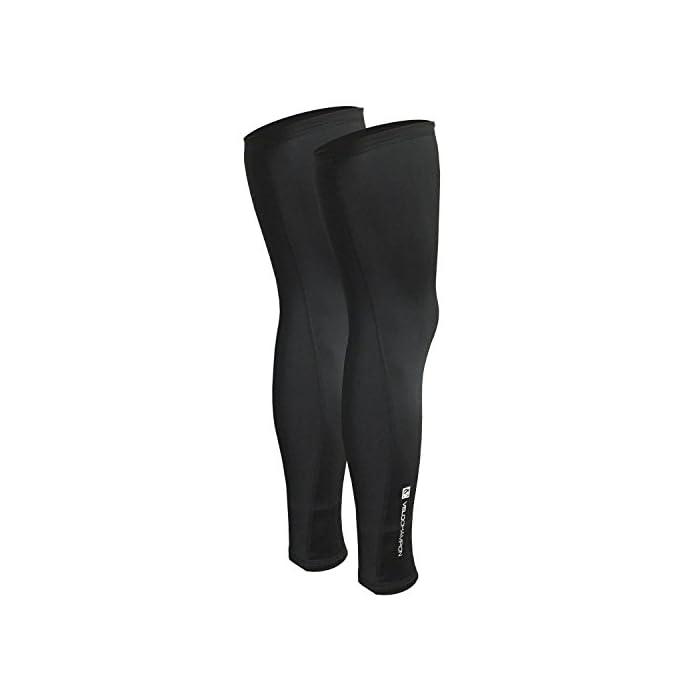 VeloChampion Thermo Tech Lite Calentadores de piernas para Ciclismo – Negros Leg Warmers Black