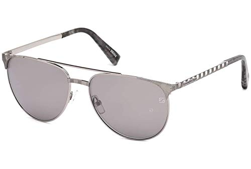(Ermenegildo Zegna EZ0040 - 14C Sunglasses shiny light ruthenium frame w/ Grey mirror Lens 58mm)