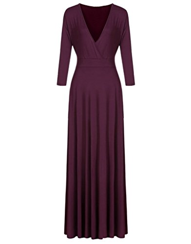 V 3 Maxi Purple Evening Party Plus Appcome Size Dress Neck Women's Sleeve 4 Oqvnx5IwB
