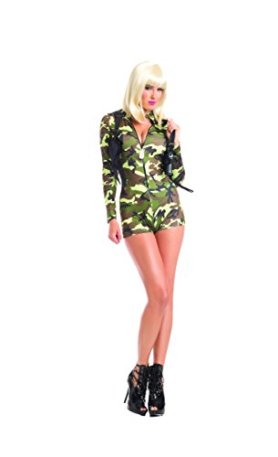 Adult Women's 2 Piece Camouflage Army Babe Romper Halloween Party Costume ()