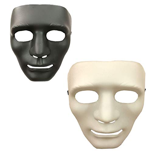 Party Mask Full Face White and Black Cosplay Masks in Dance Party (3 Pcs White +3 Pcs Black) -