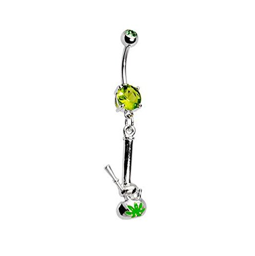 BodyJ4You Peridot Green Crystal Pot Leaf Belly Ring
