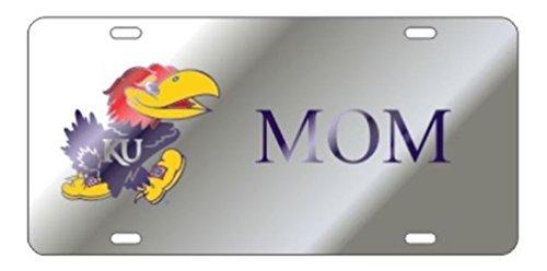 Kansas Jayhawks Laser Cut Inlaid Mirrored Silver MOM Plate w/Jayhawk Logo ()