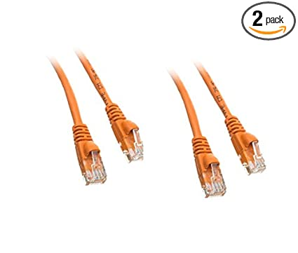 C&E 2 Pack Cat5e Ethernet Patch Cable, Snagless/Molded Boot 1 Foot Orange,