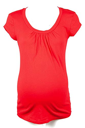 - Michael Stars Maternity Blaze Red OSFA Ruched Scoop Neck Tshirt top