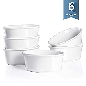Sweese 506.001 Porcelain Ramekins 6 Ounce Souffle Dishes, Oval Ramekins for Baking, Set of 6, White 31QhZlivRFL
