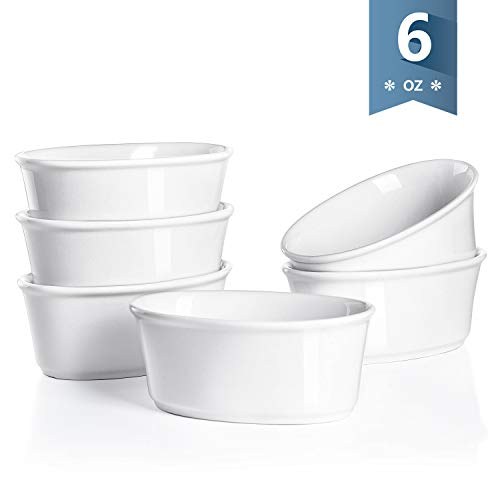 Sweese 5113 Porcelain Souffle Dishes 6 oz, Oval Ramekins for Baking, Set of 6, White