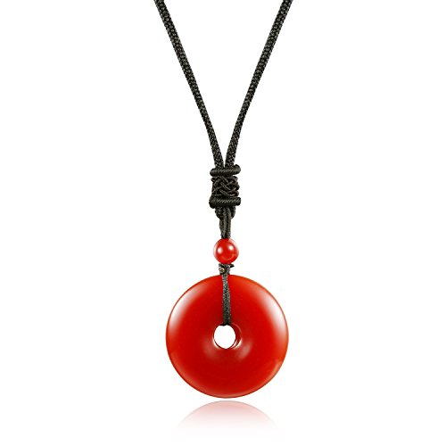ed Agate Stone Pendant Necklace Healing Round Donut Grounding ()