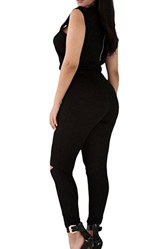 Womens Casual Sleeveless Broken Hole Tie Waist Pants Jumpsuit Romper L Black