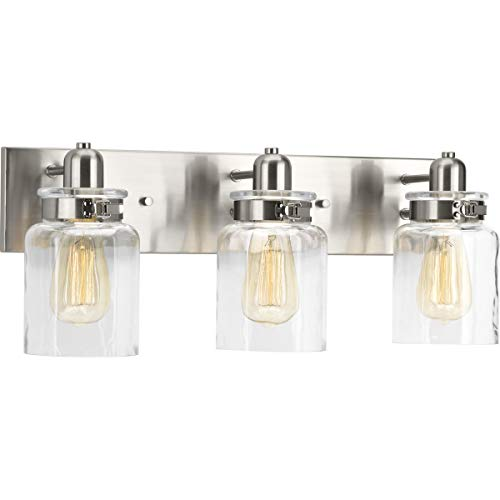 - Progress Lighting P300047-009 Calhoun Brushed Nickel Three-Light Bath & Vanity, 3