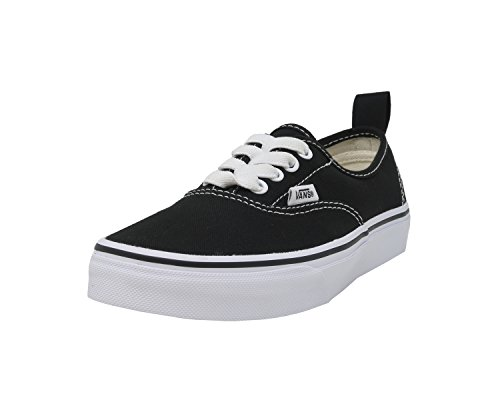 Vans Kids Authentic Elastic (Elastic Lace) Skate Shoe Black/True White 12.5 -