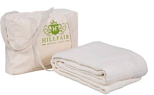 HILLFAIR 100% Certified Organic Cotton Blankets- Twin Size Bed Blankets- All Season Cotton Blanket- Natural Twin Size Cotton Blanket- Soft Cozy Multipurpose Twin Blankets- Organic Cotton Bed ()
