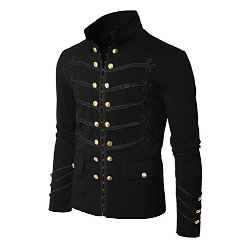 Elefan Cornelia Underwear Men's Black Gothic Jacket Frock Coat Embroider Button Uniform Steampunk Victorian Costume -