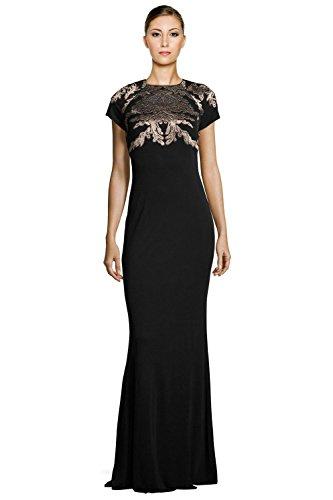 David Meister acanthus Jersey Short Sleeve Evening Gown Dress David Meister Jersey