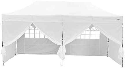 10 x 20 ft Outdoor EZ Pop Up Canopy Tent Commercial Instant Sun Shelter Adjustable Folding Gazebo Party Waterproof Tent with 6 Removable Sidewalls,Heavy Duty Roller Bag