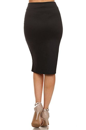 Women's Below the Knee Pencil Skirt for Office Wear - Made in USA,Black,X-Large by Simlu (Image #1)