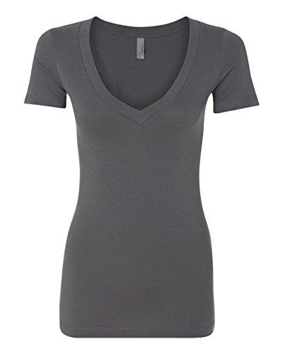 Next Level Apparel The Deep V Neck T-Shirt, Dark Grey, X-Large