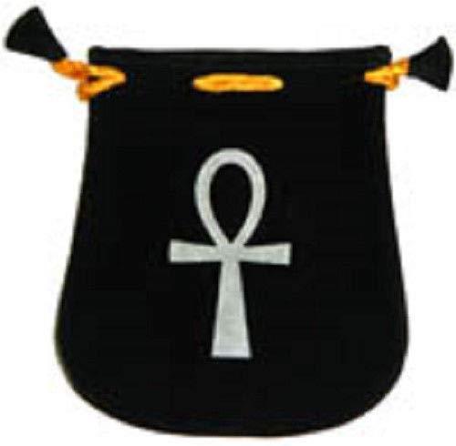 Black Velvet Bag/Pouch 5'' x 5'': Ankh (Wicca Talisman Drawstring)