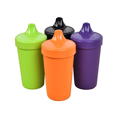 Re-Play Made in The USA 4pk No Spill Sippy Cups for Baby, Toddler, and Child Feeding - Orange, Lime, Amethyst, Black (Halloween+) ()