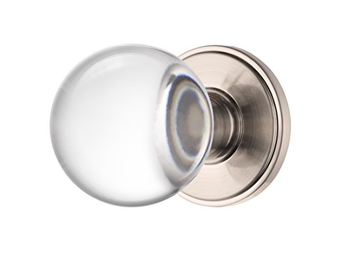 Decor Living, AMG and Enchante Accessories Clear Crystal Ball Door Knobs with Lock, Privacy Function for Bed and Bath, Apollo Collection, DK07S-PR SXO, Satin Nickel