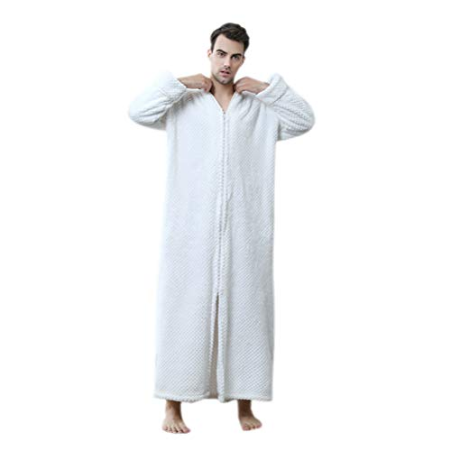 HEHGU Nightgown Robe Full Length Bathrobe Nightshirt with Zipper for Men Women]()