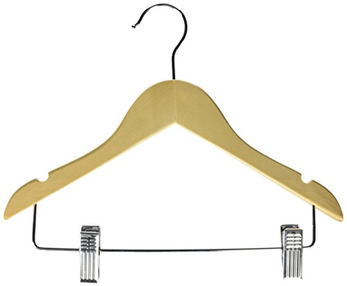 25 10-Pack Kid's Basic Hanger with Clips, m, Maple ()