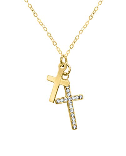 Cross Swarovski Rosary - Amata Fine Jewelry 18K Yellow Gold Plated Sterling Silver Large & Small Rosary Cross Pendant Necklaces for Women - Studded with Swarovski Austrian Crystals - (Small + Large Cross Pendant Gold)