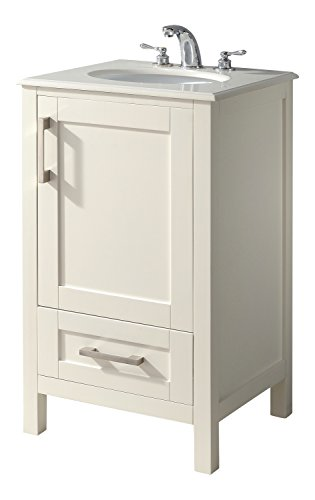 "Simpli Home Westbridge 20"" Bath Vanity with White Quartz Marble Top, Soft White"