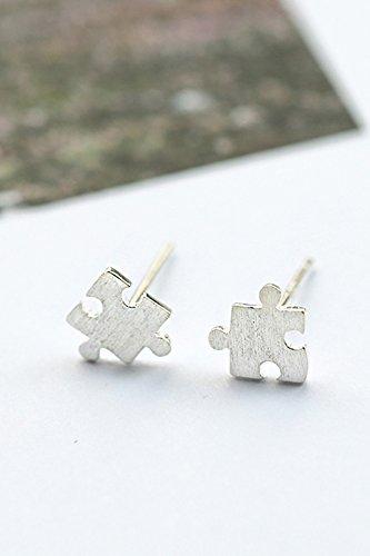 Jigsaw Earrings earings Dangler Eardrop Earrings Cute Women Girls Creative s925 Sterling Silver State Women Gift Students Personalized Mini