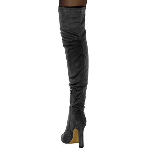 Angkorly Women's Fashion Shoes Thigh Boot Boots - Soft - Thigh Boot Block High Heel 11 cm Grey QAWPAjKl