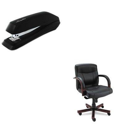 KITALEMA42LS10MSWI54501 - Value Kit - Best Madaris Mid-Back knee Tilt Leather Chair w/Wood Trim (ALEMA42LS10M) and Swingline Standard Strip Desk Stapler (SWI54501) by Best