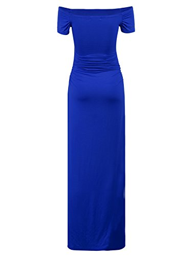 Off Short Royal Women's BlackCherry Maxi Dress Blue Sleeve Casual Maternity Shoulder 5t64wP
