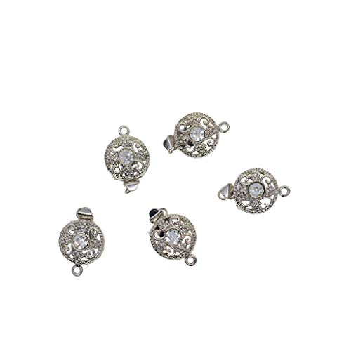 CUTICATE 5 Pieces Crystal Rhinestone Box Clasps Connectors for Jewelry Making and Repairing Findings DIY Necklaces Bracelets Clasps and Closure - Silver