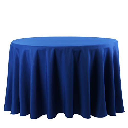 Waysle 132-Inch Round Tablecloth, 100% Polyester Washable Table