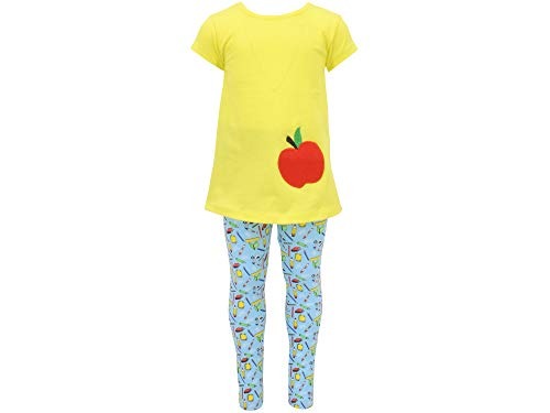 Unique Baby Girls Back to School Apple Embroidered 2 Piece Outfit (3t, - Leggings Piece 3 Embroidered