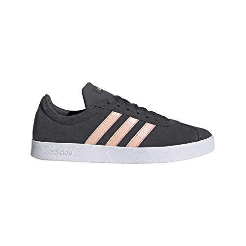 adidas Women's VL Court 2.0 Sneaker, Grey/Glow Pink/White, 6.5 M US (Adidas Vintage Sneakers)