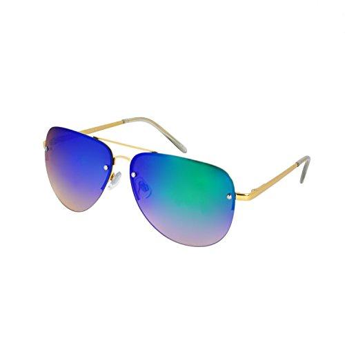 SunnyPro Aviator Sunglasses For Women And Men Big Half Rimmed Glasses UV400