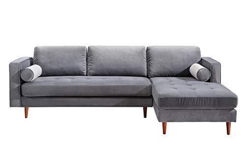 (TOV Furniture TOV-L4109-L4127 The Como Collection Modern Velvet Living Room Sectional Sofa, Gray, RAF)