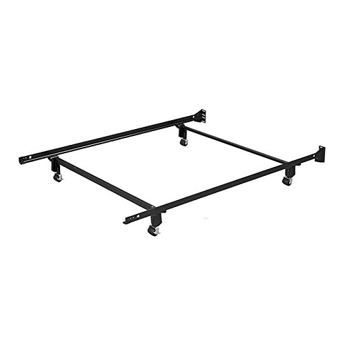 Leggett & Platt Inst-A-Matic Premium Bed Frame 753R with Headboard Brackets and (4) 2-Inch Locking Rug Roller Legs, Black Finish, Full (Instamatic Bed Frame)
