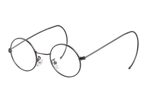 Agstum Retro Round Optical Rare Wire Rim Glasses Frame (Grey, ()