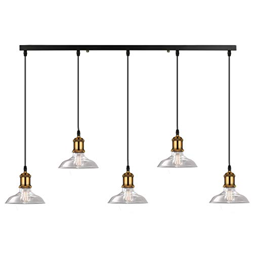 SUSUO Industrial Iron Works Contemporary Glass Linear Island Pendant 5-Light Ceiling Lights Chandelier Lighting,Matte Black Finish