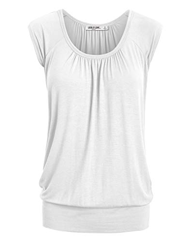 WT1054 Womens Solid Short Sleeve Sweetheart Top M White