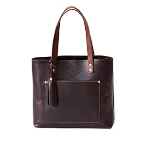 Deluxe Leather Tote Bag for Women, Leather Handbag, Leather Purse, Monogram Tote, Made in the USA