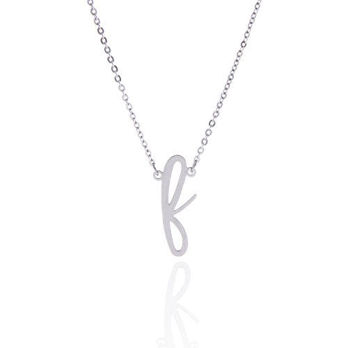 AOLO Stainless Steel F Initial Necklace Silver Fath Best Friends Jewelry