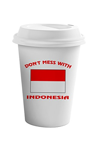 Style In Print Don't Mess With Indonesia Coffee Ceramic Travel Tumbler Mug 11oz by Style in Print